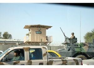 Afghan security forces guard the capital
