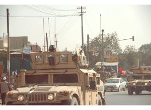 The Afghan National Army patrols the streets of Kabul