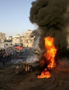 Fires in Gaza from Israeli air attacks against Hamas rocket launchers