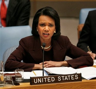 Secretary of State Condi Rice says the U.S. supports the Mubarak-Sarzoky cease fire plan
