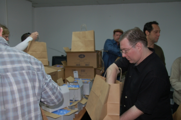 Packing bags prior to distribution