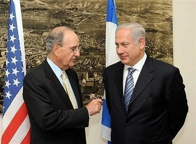 U.S. Special Envoy George Mitchell (left) met this week with Israeli Prime Minister Netanyahu.