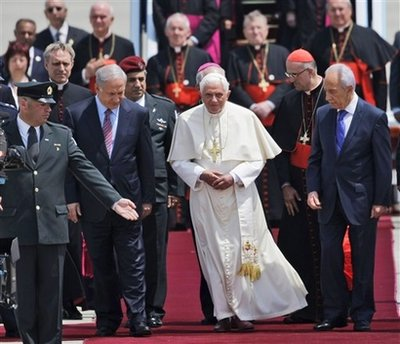 Netanyahu and Israeli President Shimon Peres welcome the Pope to the Holy Land.