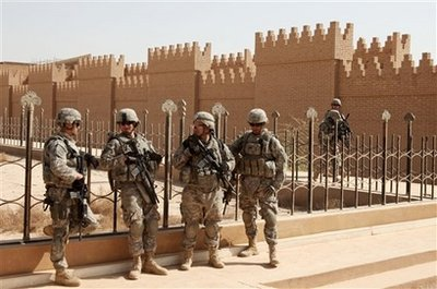 U.S. forces guarding city of Babylon, currently being rebuilt. (June 2009)
