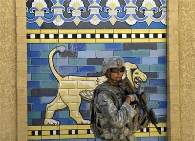 U.S. soldier near the famed Ishtar gate in Babylon, Iraq (June 2009)