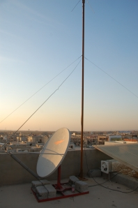 Antenna on the roof of the Iraqi Christian radio station The Joshua Fund helped finance.