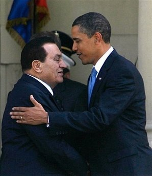 President Obama meets with Egyptian President Hosni Mubarak.