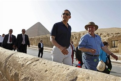 President Obama visiting the pyramids in Cairo last week. He failed to build an Arab-Israeli alliance to stop Iran's nuclear program. History may not forgive him.