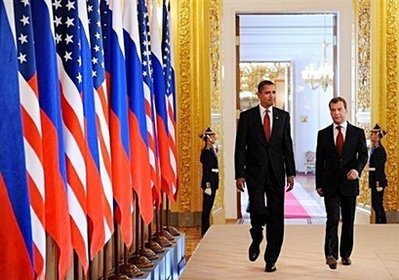 President Obama with Russian President Medvedev at the Moscow Summit in May 2009.