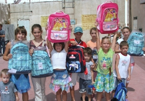 Needy children in Haifa received some of the new backpacks and supplies The Joshua Fund has helped provide this year.