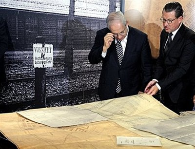 In German today, Israeli PM Netanyahu was given actual, original blueprints for the building of the Holocaust death camps.