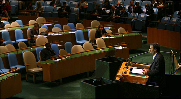 Many U.N. diplomats left the General Assembly hall as President Ahmadinejad began his address. (photo credit: New York Times)