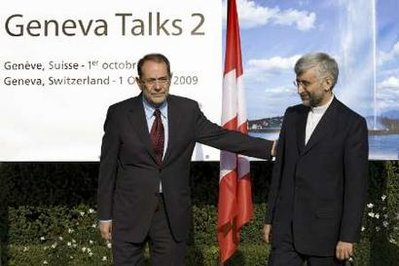 """Iran's chief nuclear negotiator Saeed Jalili (R) is welcomed by European Union foreign policy chief Javier Solana for a meeting on nuclear power of Iran in Geneva October 1, 2009,"" reports Reuters. U.S. officials also participated."
