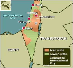 """Map of 1947 UN """"Partition Plan."""" (source: BBC)"""