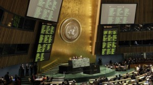 The results of a draft resolution on Palestinian status are posted during a meeting of the United Nations General Assembly after a vote on a resolution on the issue of upgrading the Palestinian Authority's status to non-member observer state in the United Nations headquarters, Thursday, Nov. 29 (photo credit: AP/Kathy Willens)