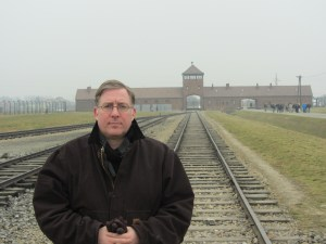 Visiting the Auschwitz-Birkenau camp in Poland in November 2011.