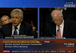 Former Sen. Chuck Hagel (R-Nebraska) testifying on Capitol Hill Thursday.