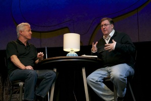 Pastor Ray Bentley interviewing me in San Diego.