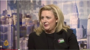 Suha Arafat, wife of former Palestinian leader Yasser Arafat, 2012 (screen capture:Youtube/AlJazeeraEnglish)