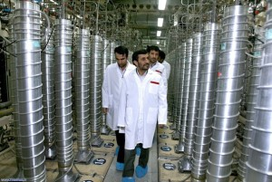 Iranian President Mahmoud Ahmadinejad touring a nuclear enrichment facility (photo credit: Washington Post archives)