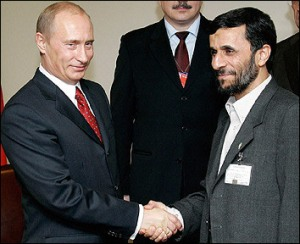 Russian President Vladimir Putin and Iranian President Mahmoud Ahmadinejad during a meeting in 2005.