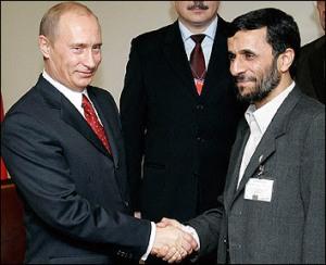 Russian President Vladimir Putin and Iranian President Mahmoud Ahmadinejad during a meeting in 2005.
