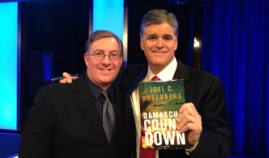 """Giving Sean a signed copy of """"Damascus Countdown"""" tonight on the set of his Mideast Special."""