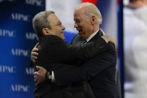 Vice President Joseph R. Biden Jr., right, with Israeli Defense Minister Ehud Barak at the American Israel Public Affairs Committee's annual policy conference in Washington on Monday. (credit: New York Times photo and caption)