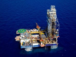 Photo of the Tamar Lease natural gas rig, located 90 kilometers west of the city of Haifa, northern Israel (photo credit: AP/Albatross Aerial Perspective/Times of Israel)
