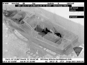 Using infrared technology, suspect Dzhokhar Tsarnaev was seen hiding in a boat from above. (Getty Images)