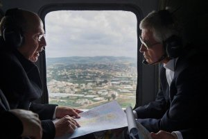"""""""Defense Secretary Chuck Hagel, right, and Moshe Yaalon of Israel on a helicopter tour of the Golan Heights on Monday."""" (Pool photo by Jim Watson)"""