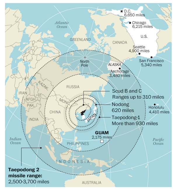 Linkage DIA Bombshell Assessment That North Korea May Now Have - North korea map of us targets