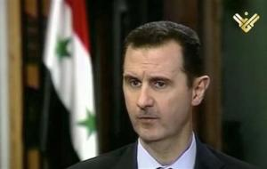 This image made from video shows Syrian President Bashar Assad during an interview broadcast on Al-Manar Television on Thursday, May 30, 2013. (AP Photo/Al-Manar Television via AP video)