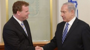 Prime Minister Benjamin Netanyahu meets with Canadian Foreign Minister John Baird in Jerusalem on June 18, 2013. (Photo credit: Amos Ben Gershom/GPO/FLASH90)