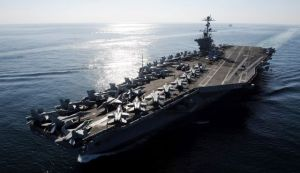 The Nimitz-class aircraft carrier USS John C. Stennis that could be called into service to project force into Syria. (Photo by AP)