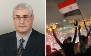 """""""Adly Mansour, left, has been declared interim President of Egypt by the military after mass protests."""" (photo credit: UK Telegraph)"""