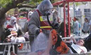 A DRILL at the Meir Medical Center in Kfar Saba tests responses to a chemical weapons attack. Photo: IDF Spokesperson/Jerusalem Post.