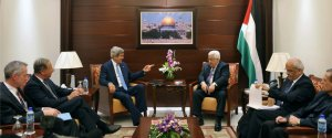 Secretary of State John Kerry meeting with Palestinian Authority leader Mahmoud Abbas in Amman, Jordan.