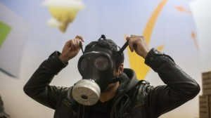Cause for concern? The recent tension along the northern border has caused a spike in demand for gas masks. (photo credit: Yonatan Sindel/Flash90/Times of Israel).