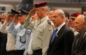Israeli PM Netanyahu and IDF Chief Gantz at a military ceremony (photo credit: Marc Israel Sellem/The Jerusalem Post)