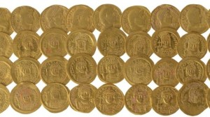 Byzantine-era gold coins found near the Southern Wall of the Temple Mount (photo credit: courtesy Ouria Tadmor/Hebrew University/Times of Israel)