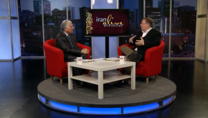 """On the set, recording a TV interview with Dr. Hormoz Shariat, """"the Billy Graham of Iran."""""""