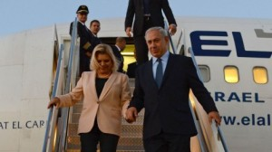 PM Netanyahu and his wife, Sara, arriving in NYC on Sunday.