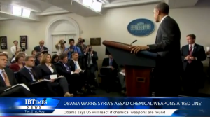 "President Obama making his off the cuff remark about a ""red line"" in Syria in August 2012."