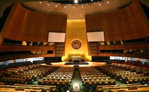 The UN General Assembly hall where the leaders of the world are now meeting.