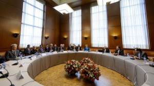 Delegates from the P5+1 and Iran meet in Geneva, at the start of two days of talks regarding Tehran's nuclear program, Tuesday, October 15, 2013 (photo credit: AP/Fabrice Coffrini)