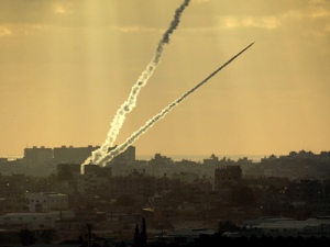 Rocket being fired from Gaza Strip at southern Israel.