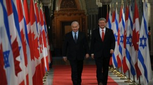 Prime Minister Benjamin Netanyahu with Canadian Prime Minister Stephen Harper (R) in Ottawa, Canada. March 02, 2012. (photo credit: Amos Ben Gershom/ GPO/ Flash90/Times of Israel)