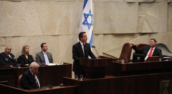 UK Prime Minister David Cameron addresses the Knesset, March 12, 2014 (photo credit: Knesset spokesperson/Times of Israel)