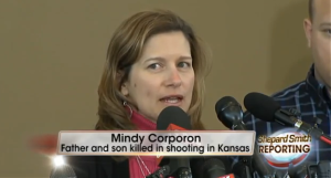 "Mindy Corporon, the daughter & mother of two of the victims, speaks to reporters. ""I know they are in heaven together."""